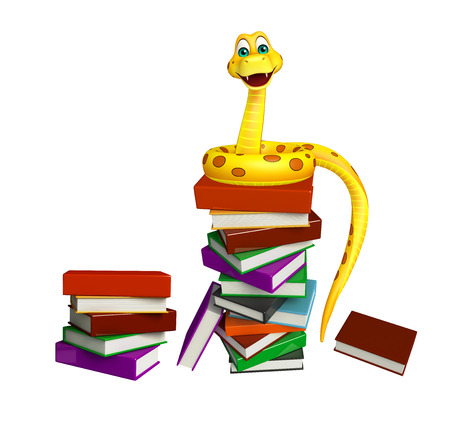 3d snake: 3d rendered illustration of Snake cartoon character with book Stock Photo
