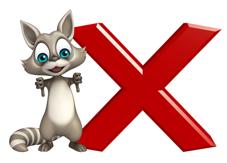 carnivora: 3d rendered illustration of Raccoon cartoon character with cross sign