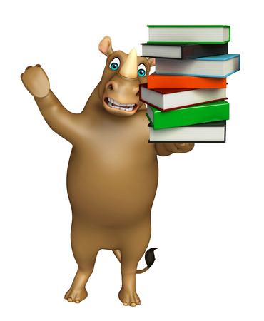 3d rendered illustration of Rhino cartoon character with books