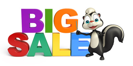 mofeta: 3d rendered illustration of Skunk cartoon character with bigsale sign