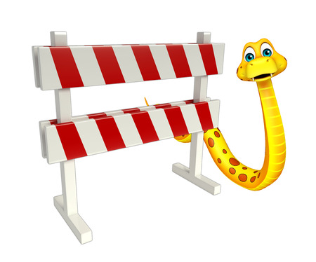 constuction: 3d rendered illustration of Snake cartoon character  with baracade Stock Photo