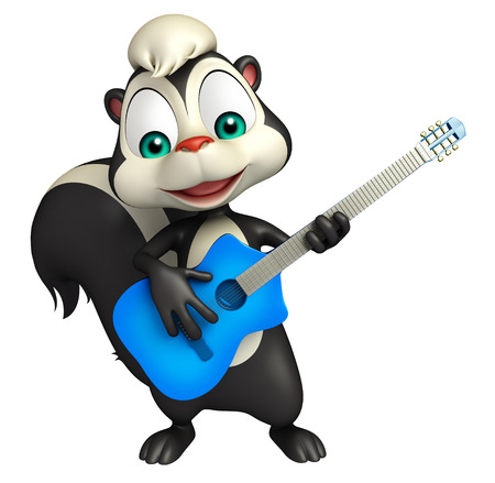 zorrillo: 3d rindió la ilustración de personaje de dibujos animados de la mofeta con la guitarra Foto de archivo
