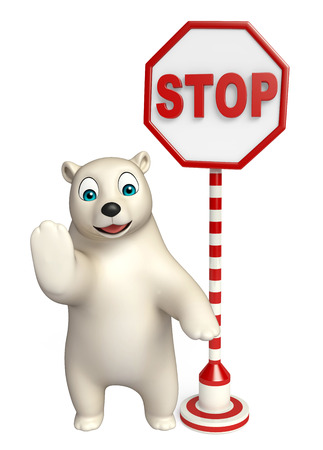 zoo traffic: 3d rendered illustration of Polar bear cartoon character with stop sign Stock Photo