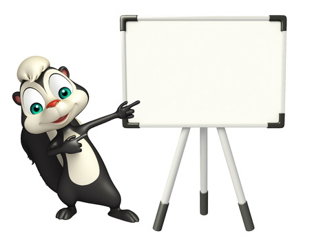 display board: 3d rendered illustration of Skunk cartoon character with display board Stock Photo