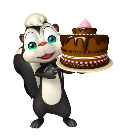 mofeta: 3d rindi� la ilustraci�n de personaje de dibujos animados de la mofeta con la torta Foto de archivo
