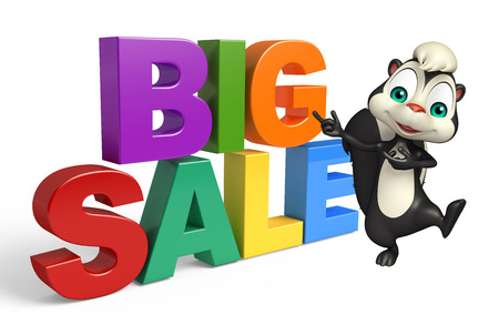 skunk: 3d rendered illustration of Skunk cartoon character with bigsale sign