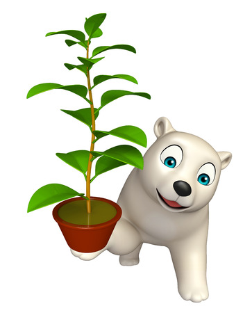 chlorophyll: 3d rendered illustration of Polar bear cartoon character with plant Stock Photo