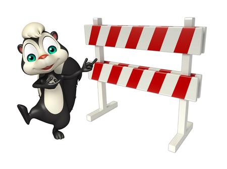 skunk: 3d rendered illustration of Skunk cartoon character with baracade
