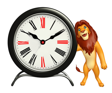 3d lion: 3d rendered illustration of Lion cartoon character with clock Stock Photo