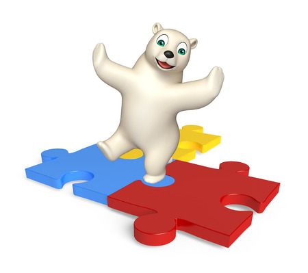 jig saw puzzle: 3d rendered illustration of Polar bear cartoon character with puzzle Stock Photo