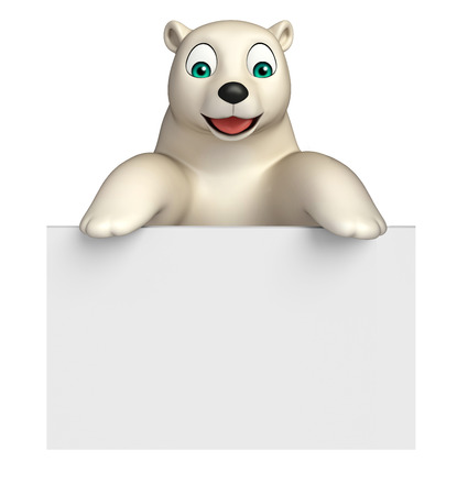 hunny: 3d rendered illustration of Polar bear cartoon character with  board Stock Photo