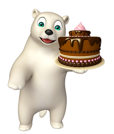 hunny: 3d rendered illustration of Polar bear cartoon character with cake