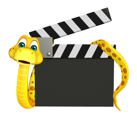 3d snake: 3d rendered illustration of Snake cartoon character with clapboard