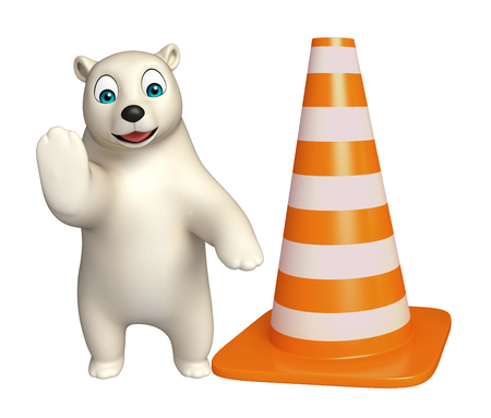 hunny: 3d rendered illustration of Polar bear cartoon character with  construction cone Stock Photo