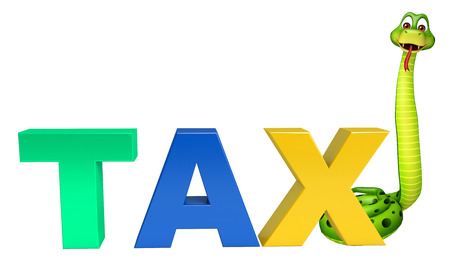 obligation: 3d rendered illustration of Snake cartoon character with tax sign