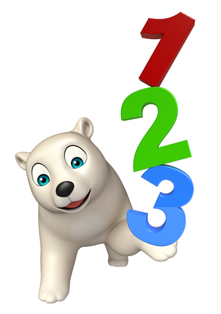 hunny: 3d rendered illustration of Polar bear cartoon character with 123 sign Stock Photo