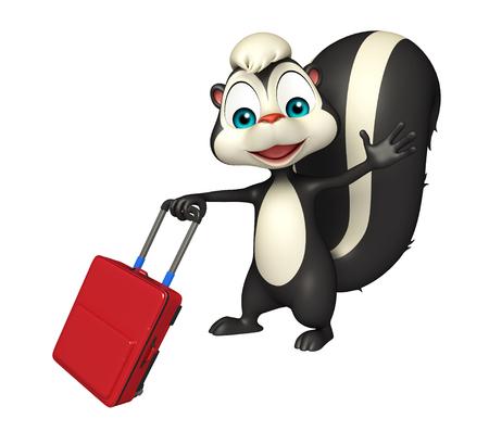 mofeta: 3d rindi� la ilustraci�n de personaje de dibujos animados de la mofeta con bolsa de viaje
