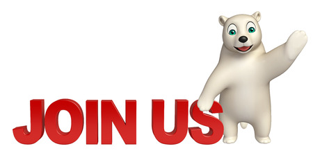 hunny: 3d rendered illustration of Polar bear cartoon character with join us sign