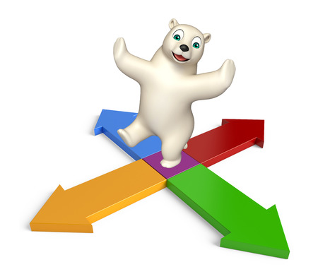 hunny: 3d rendered illustration of Polar bear cartoon character with arrow