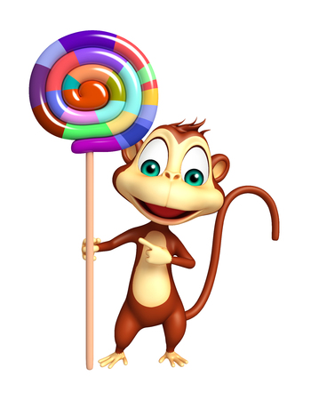 lollypop: 3d rendered illustration of Monkey cartoon character with lollypop