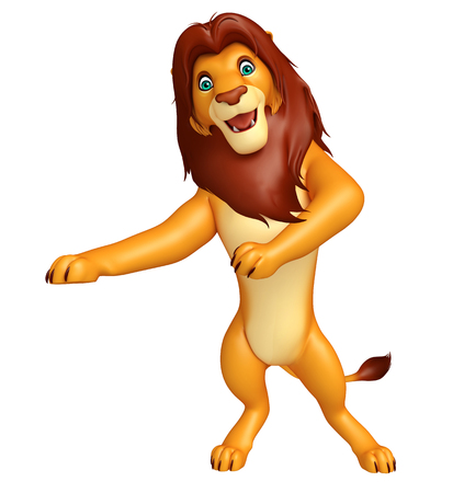 3d lion: 3d rendered illustration of pointing  Lion cartoon character