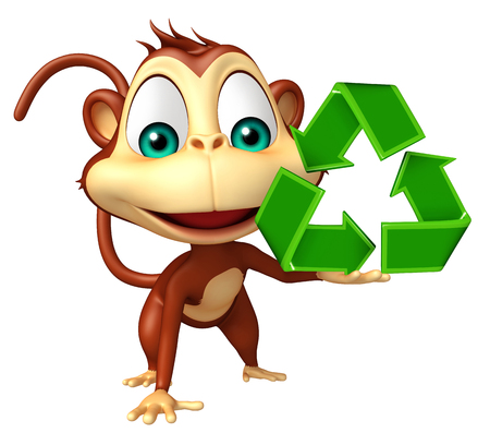 primate biology: 3d rendered illustration of Monkey cartoon character with recycle