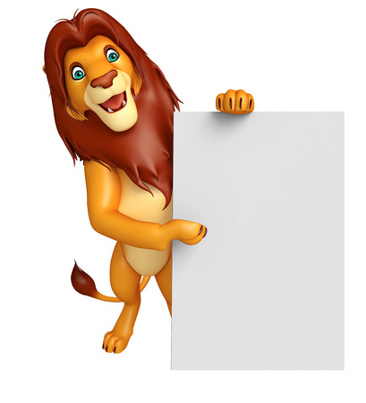 3d lion: 3d rendered illustration of Lion cartoon character with board Stock Photo