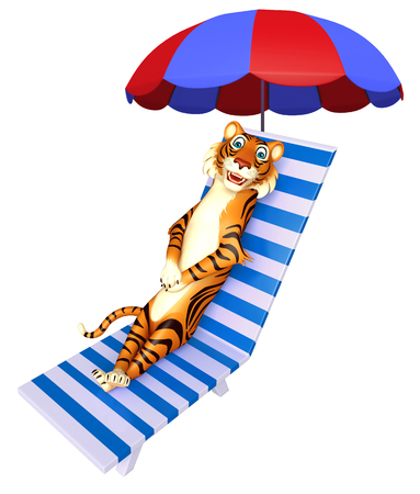 3d rendered illustration of Tiger cartoon character with beach chair Stock Photo