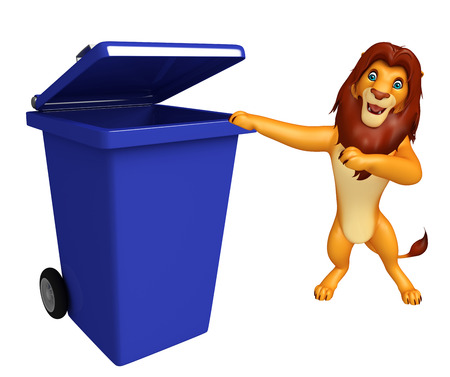 wastebasket: 3d rendered illustration of Lion cartoon character with dustbin