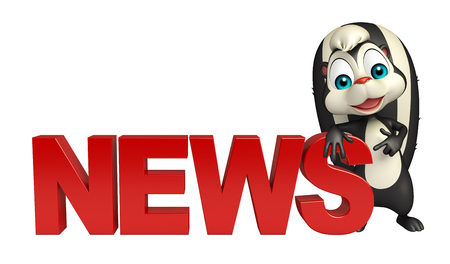 mofeta: 3d rendered illustration of Skunk cartoon character with news sign
