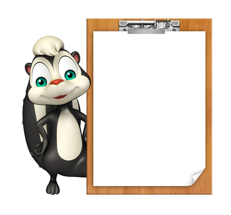 skunk: 3d rendered illustration of Skunk cartoon character with exam pad Stock Photo
