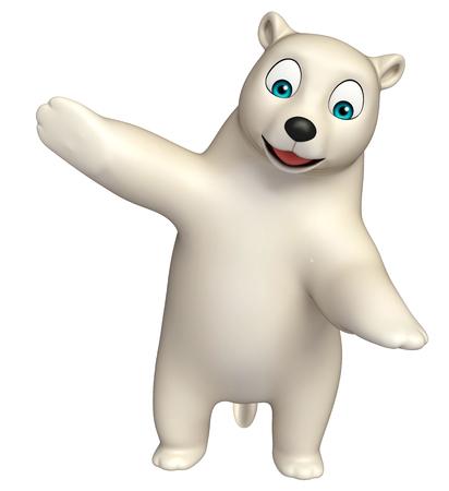 hunny: 3d rendered illustration of pointing  Polar bear cartoon character