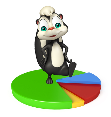 skunk: 3d rendered illustration of Skunk cartoon character with circle sign