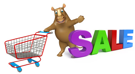 trolly: 3d rendered illustration of Rhino cartoon character with bigsale sign and trolly