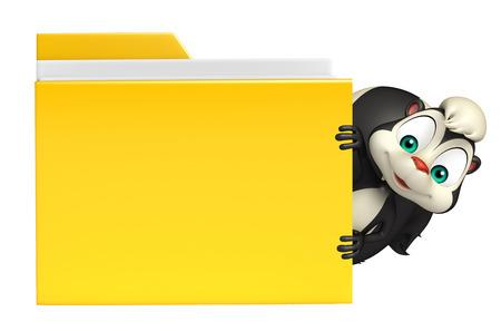 skunk: 3d rendered illustration of Skunk cartoon character with folder
