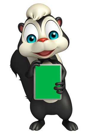 online business: 3d rendered illustration of Skunk cartoon character with tab Stock Photo