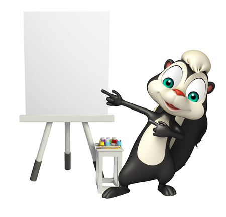 easel: 3d rendered illustration of Skunk cartoon character with easel board