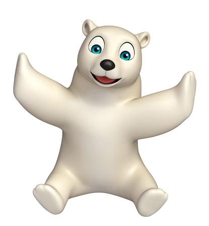 hunny: 3d rendered illustration of sitting  Polar bear cartoon character Stock Photo