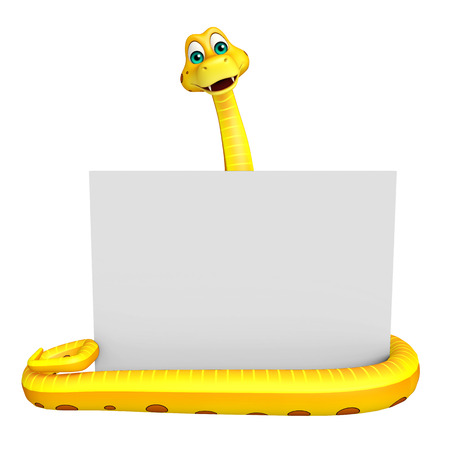 3d snake: 3d rendered illustration of Snake cartoon character with board