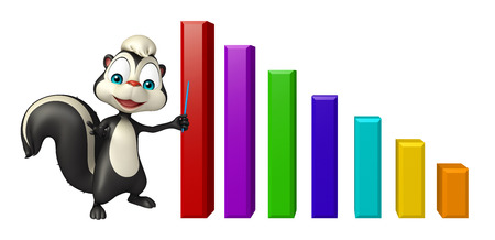 skunk: 3d rendered illustration of Skunk cartoon character with graph