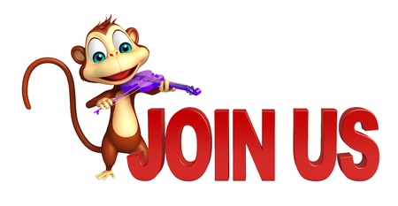 cute cartoon monkey: 3d rendered illustration of Monkey cartoon character with join us sign and violin