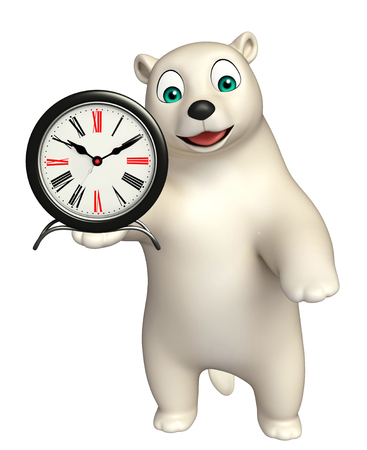 hunny: 3d rendered illustration of Polar bear cartoon character with clock Stock Photo
