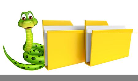 3d snake: 3d rendered illustration of Snake cartoon character with folder