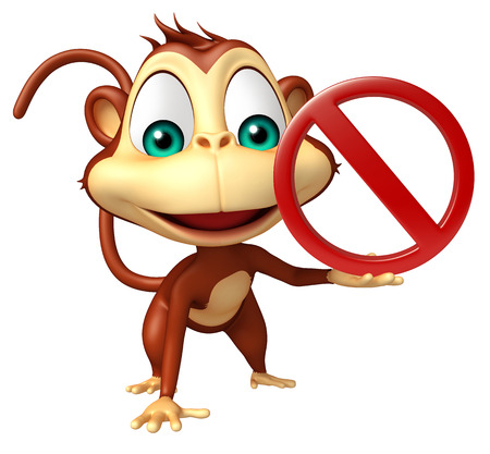 drive ticket: 3d rendered illustration of Monkey cartoon character with stop sign