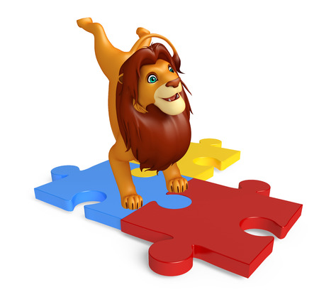 jig saw: 3d rendered illustration of Lion cartoon character with puzzle Stock Photo