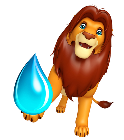 3d lion: 3d rendered illustration of Lion cartoon character with water drop Stock Photo