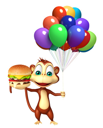 baloon: 3d rendered illustration of Monkey cartoon character with baloon and burger