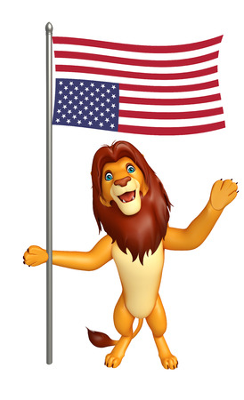 3d lion: 3d rendered illustration of Lion cartoon character with flag