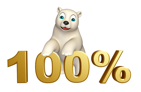 hunny: 3d rendered illustration of Polar bear cartoon character with 100% sign