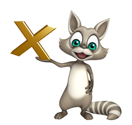 3d rendered illustration of Raccoon cartoon character with cross sign